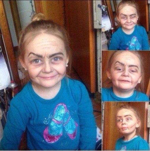 Фокус косметики на семилетней девочке.