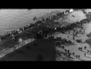 Wreckage of German zeppelin is displayed on dock near the White Tower in Salonica...HD Stock Footage