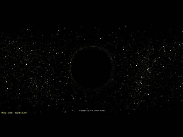 Преломление света при приближении к чёрной дыре