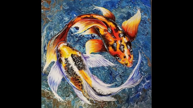 (86) Embellishing an Acrylic Pour with Koi Fish and How to Varnish with Sandra Lett 042018