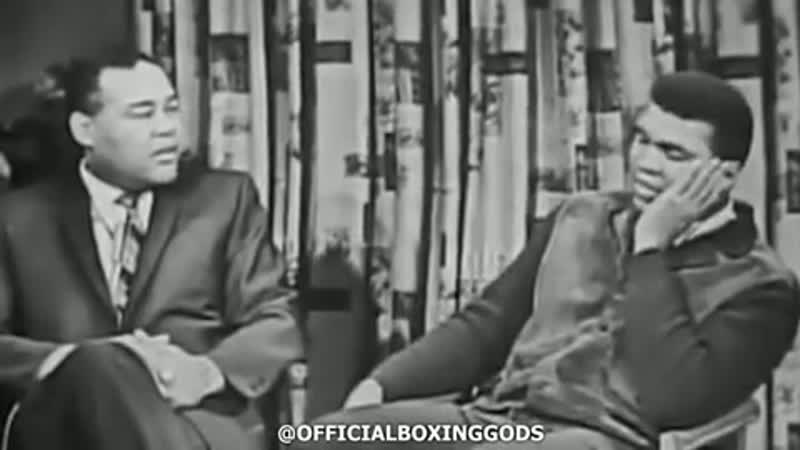 1966 - a retired Joe Louis and a young Muhammad Ali clowning one another on a talkshow. 👑🐐🥊 footage courtesy