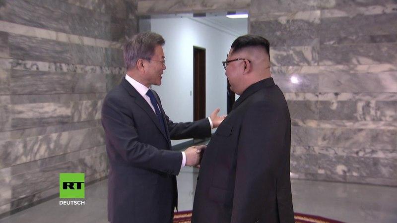 Südkoreas Präsident Moon Jae-in trifft Nordkoreas Staatschef Kim Jong-un
