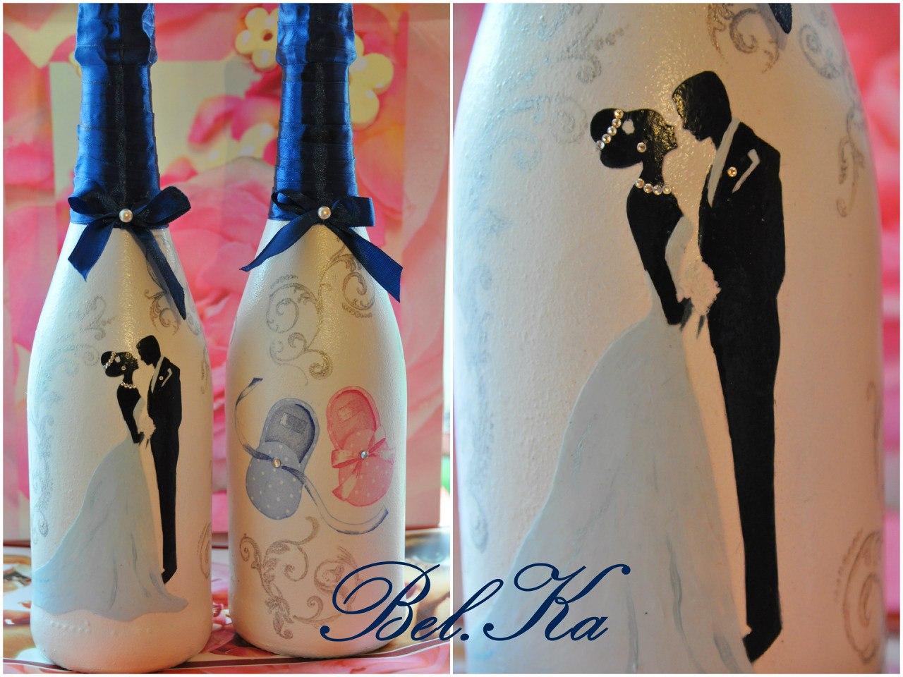 Свадебный декупаж шампанского своими руками