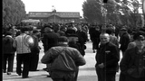 Prisoners on a street at the Dachau Concentration Camp in Bavaria, Germany. HD Stock Footage