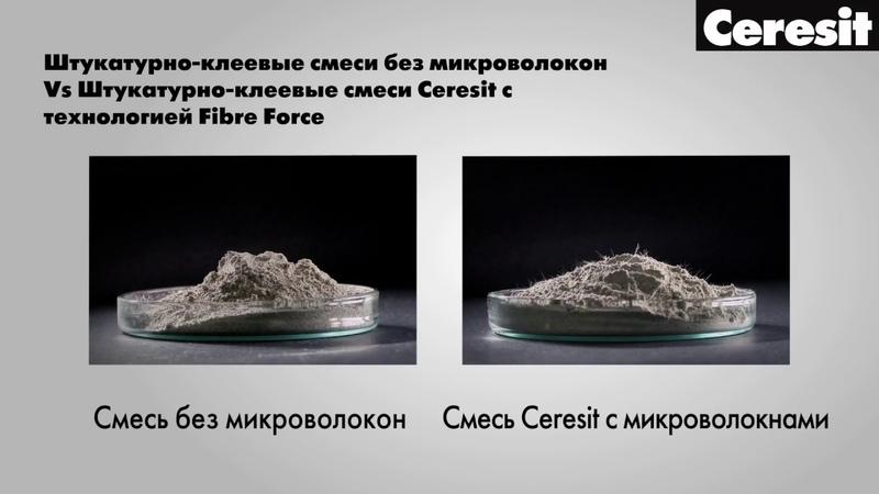 Штукатурно клеевые смеси для фасадов Ceresit с микроволокнами Fibre Force