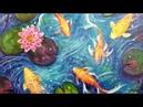 Koi Fish Lily Pond Acrylic Painting LIVE Tutorial