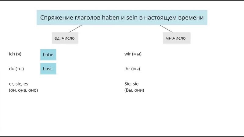 Спряжение глаголов haben и sein в настоящем времени в немецком языке
