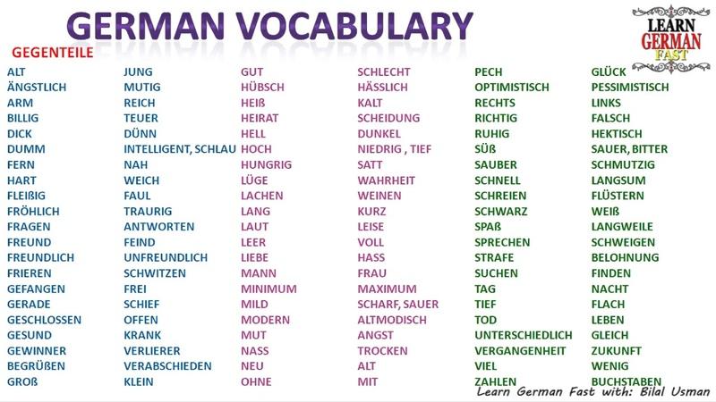 German Vocabulary Gegenteil / Opposite word- A1, A2, B1, B2, C1, C2