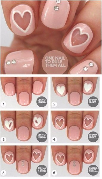 Сердце на ногтях в домашних условиях - Walton