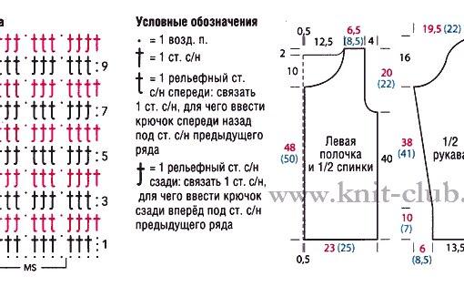 схемы летней кофты вязаной крючком