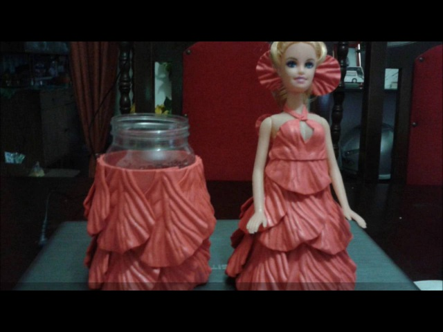 Барби на баночку_Boneca de E.V.A no Pote