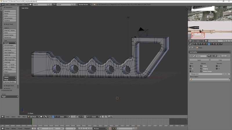 Blender 3D - Modeling Practice 8 M200 CheyTac carry handle
