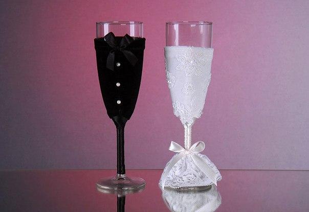 Как самой сделать свадебные бокалы своими руками