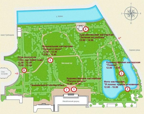 План Михайловского сада с