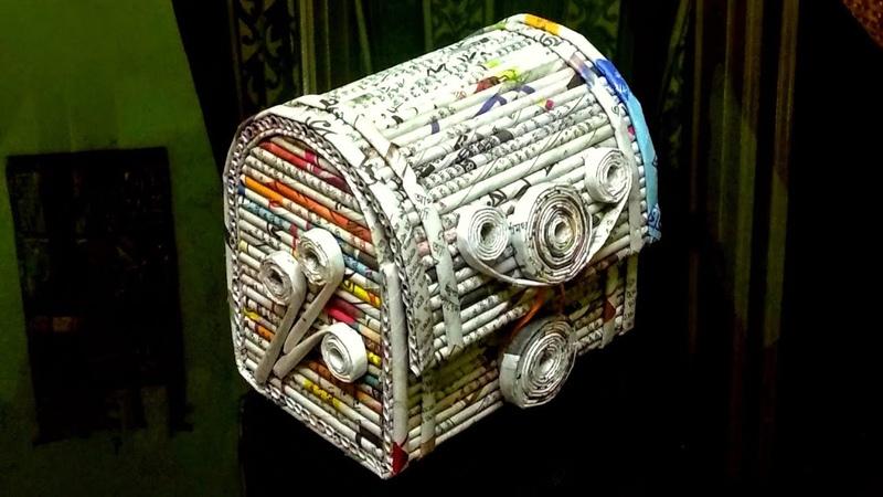 How to make a newspaper jewellery box/DIY Newspaper craft