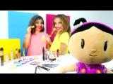 #kızoyunları. Sema Ayça ve Şila gözü kapalı makyaj yapma oyunu. #kızyıldız