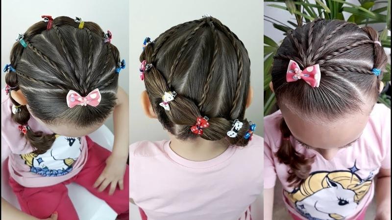 Penteado Infantil lateral com ligas, amarração e tranças de duas pontas