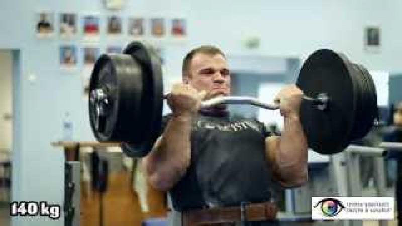 Denis Cyplenkov. Biceps curls. 140 kg x 5