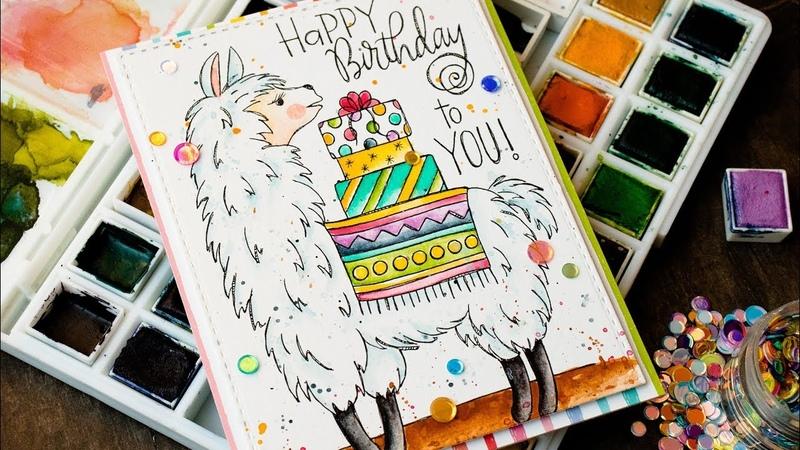Watercolor Birthday Llama!
