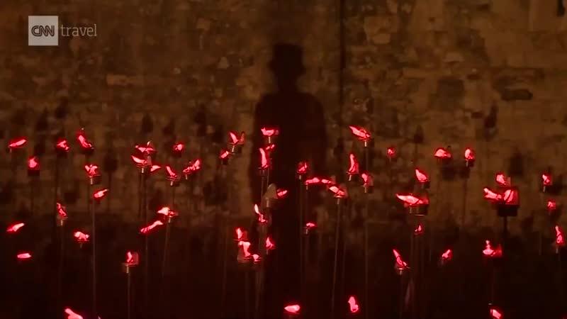 Каждый вечер на этой неделе вокруг лондонского Тауэра зажигают тысячи свечей.