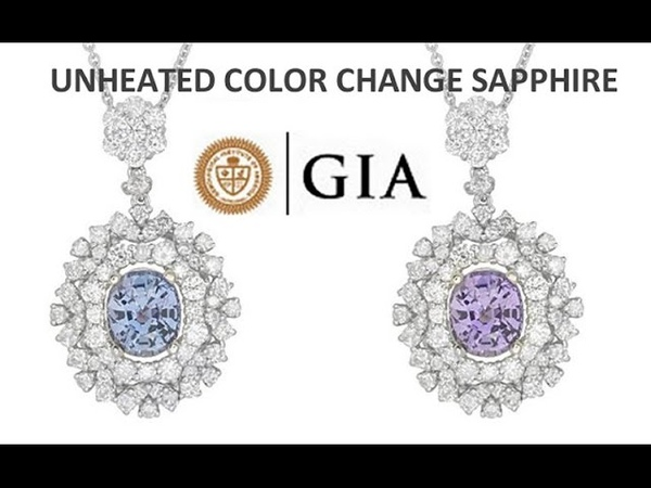 GIA Natural UNHEATED VVS Color Change Sapphire Diamond 18k White Gold Pendant Necklace - C536