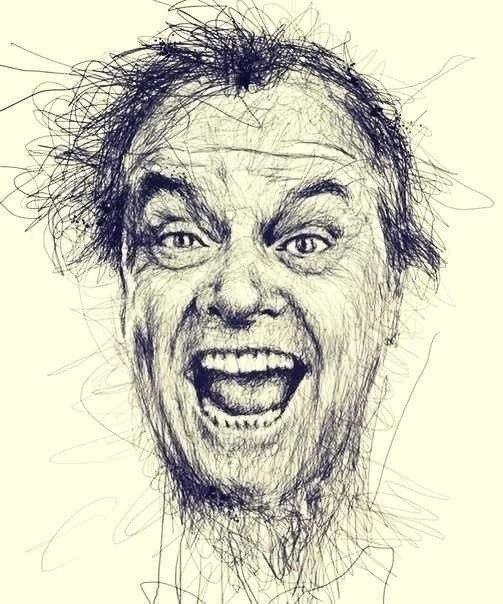 Художник Винс Лоу создает изумительные портреты киноактеров, не отрывая ручку от листа бумаги ????