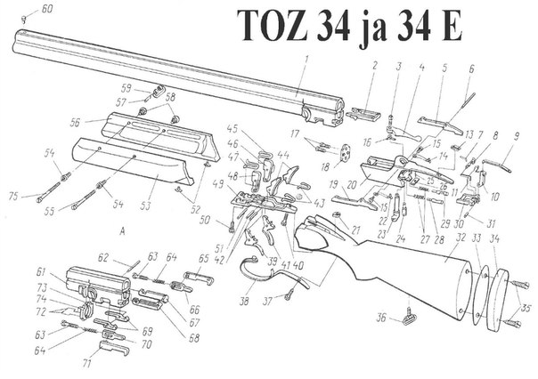 Взрыв-схема ТОЗ-34 и ТОЗ-43Е