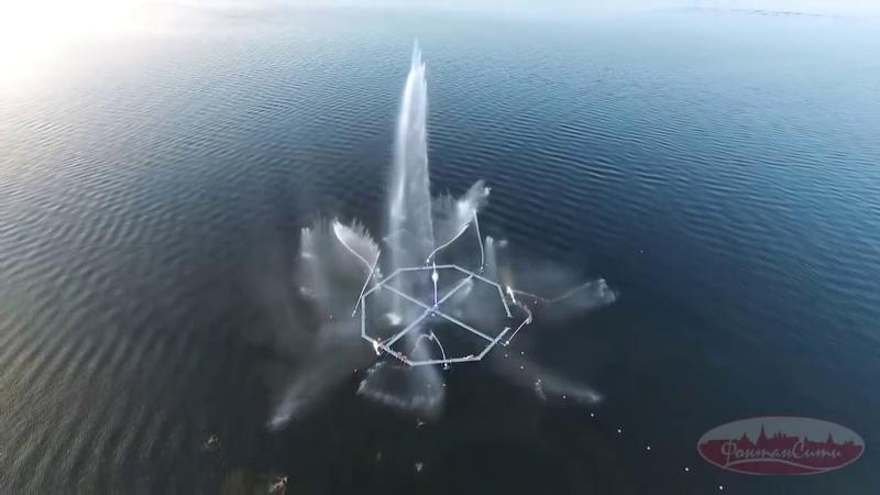 Речной фонтан в Нижнекамске СУПЕРВИДЕО