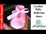 Crochet baby ballet slippers zapatitos de ballet para bebe - Yolanda Soto Lopez