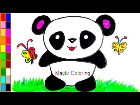 Cute Baby Panda Drawing Easy and Simple for Kids Animals Coloring Pages