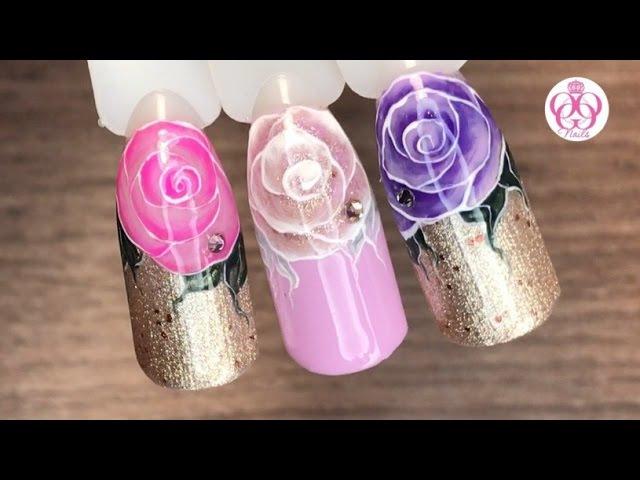 Как нарисовать розы♥ГЕЛЬ ЛАК♥дизайн ногтей ЦВЕТОЧНЫЙ и легкий