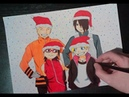 SPEED DRAWING NARUTO, SARADA, BORUTO AND SASUKE FOR A MERRY CHRISTMAS