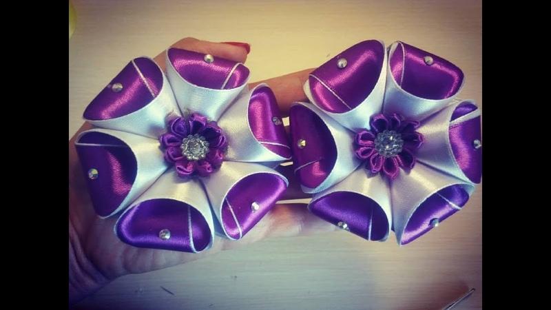 бант из ленты Kanzashi\bloemen gemaakt van satijnen lint decoratie\şerit çiçekler