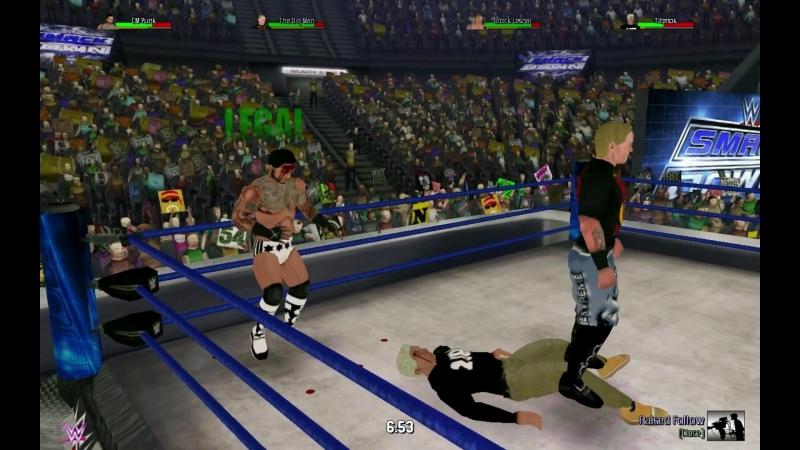 Большой Человек и СМ Панк против Брока Леснара и Титенка