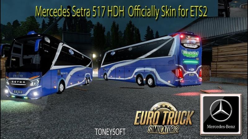 Mercedes Setra 517 HDH V5 with Official Skin logo ets2 mods - YouTube