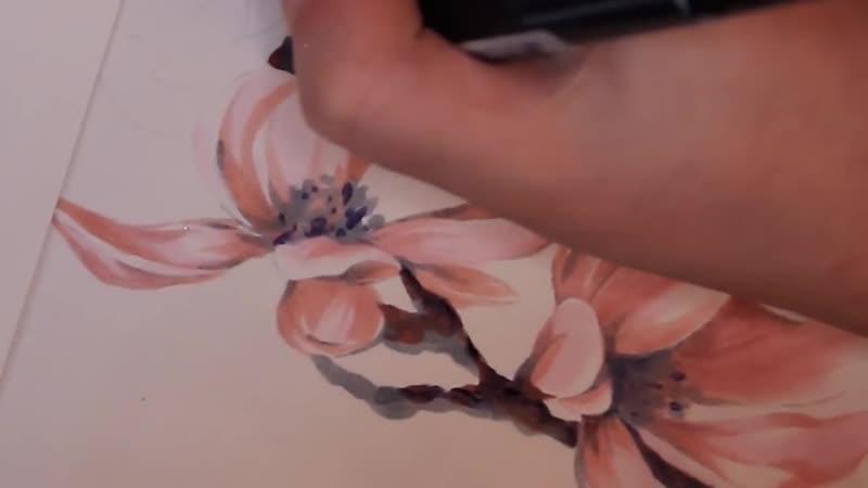 Урок рисования цветка маркерами