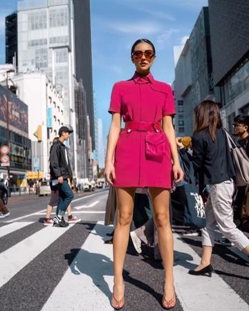 "M O N I C A R O S E on Instagram: ""Tokyo vibes @shaymitchell 💕 Dress @georginestudio • Shoes @tomford • Sunglasses @maxmara STYLEDbyMonicaRose 📷 ..."