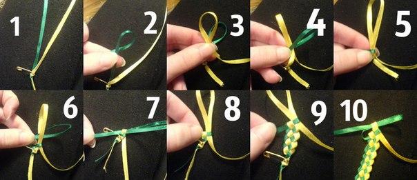 Как сделать своими руками фенечку из ленточек