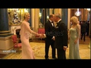 The Prince of Wales and the Duchess of Cornwall greet the Prince and Princess of Monaco.