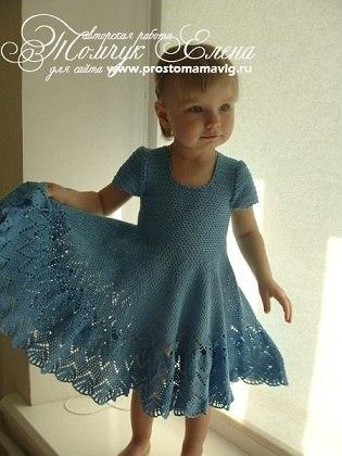 Платье голубая лагуна спицами детское