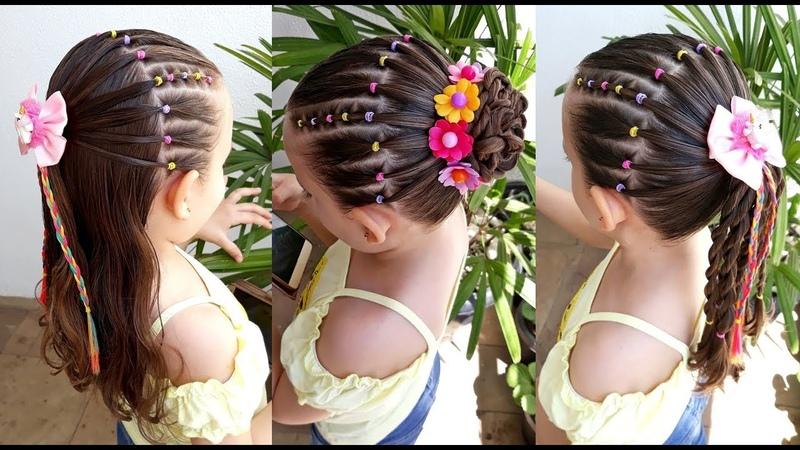 Penteado Infantil de ligas coloridas em tiara, meio preso, amarração ou coque