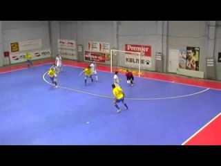 Goalkeeper score amazing goal in futsal!