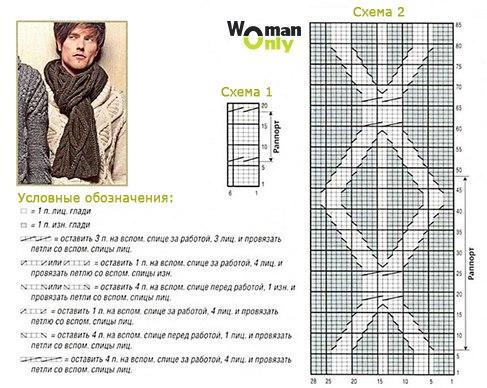 Мужской шарф вязка схема описание