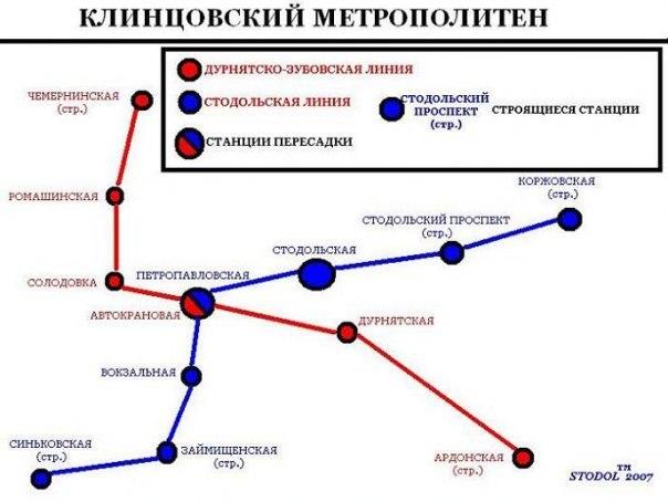 Схема клинцовского метро
