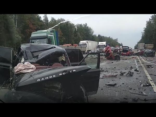Страшная массовая авария на Минском шоссе Mitsubishi ASX разорвало на части Range Rover всмятку