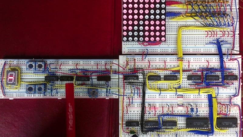 Система доступа к ОЗУ К155РУ5, и вывод данных на светодиодную матрицу 8*8.