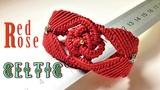 Macrame bracelet tutorial - The big red rose in Celtic pattern - H