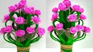 DIY Guldasta/Make Amazing Foam Rose Flowers Guldasta/Foam Flower Pot New Model/X-RAY Craft Ideas