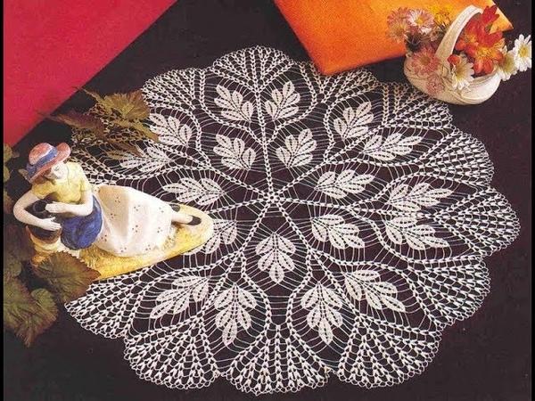 Tığ işi Dantel Örgü yapımı, Yuvarlak oda takımı modeli Crochet Part 8