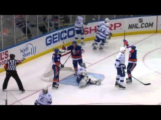Unlucky Bounce: Victor Hedman scores on own net